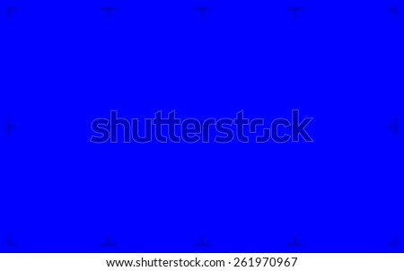 Blue Screen with position markers for compositing, 16:10 8K original size - anchors are Blue value over 200 for easy removal - stock photo