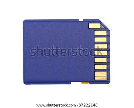Blue SD Memory Card. Isolated with clipping path. - stock photo