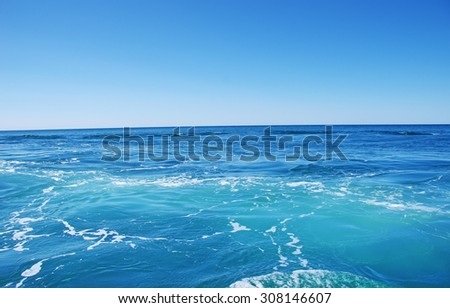 Blue sea and blue sky  background - stock photo