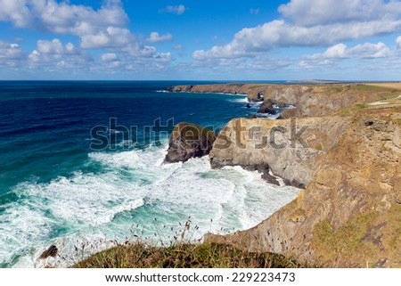 Blue sea and sky Bedruthan Steps Cornwall England UK Cornish north coast near Newquay on a beautiful sunny day at this tourist attraction - stock photo