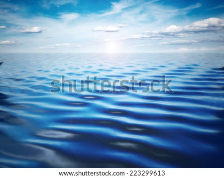 Blue sea and sky landscape - stock photo