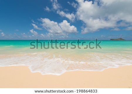 Blue sea and white waves - stock photo