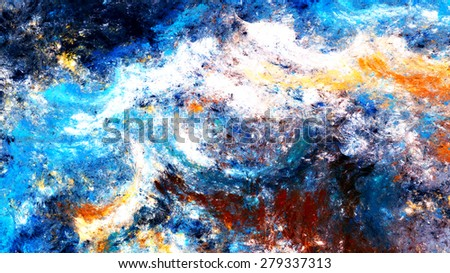 Blue sea wave. Artistic splashes of bright paints. Abstract color background for wallpaper, interior, album, flyer cover, poster, booklet. Fractal artwork for creative graphic design. - stock photo