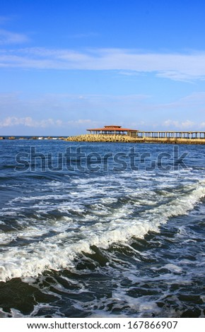 Blue sea with waves ,Egypt  - stock photo