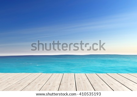 Blue Sea with Wooden Pier extreme closeup. 3d Rendering - stock photo
