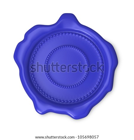 Blue seal of approval on white background - stock photo