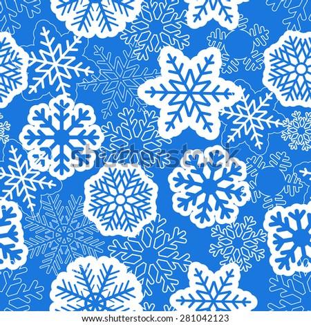 Blue seamless christmas background with snowflakes. Raster version - stock photo