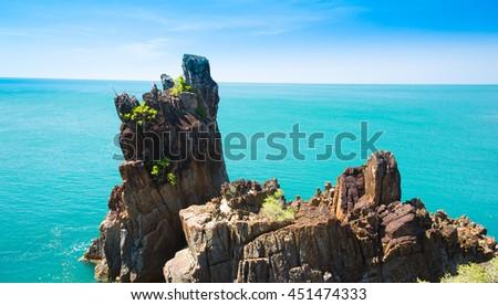 Blue Seascape Sea Rocks  - stock photo