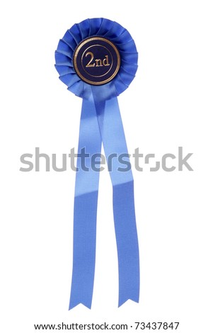 blue second place rosette studio cutout - stock photo