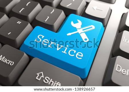 "Blue ""Service"" Button on Computer Keyboard. Customers Service Concept. - stock photo"