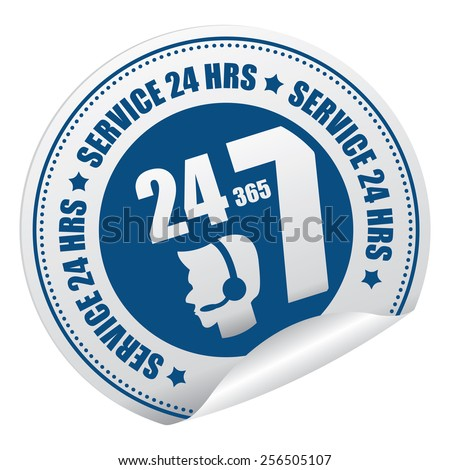 Blue 24 365 7 Service 24 HRS Call Center Sticker, Icon or Label Isolated on White Background  - stock photo
