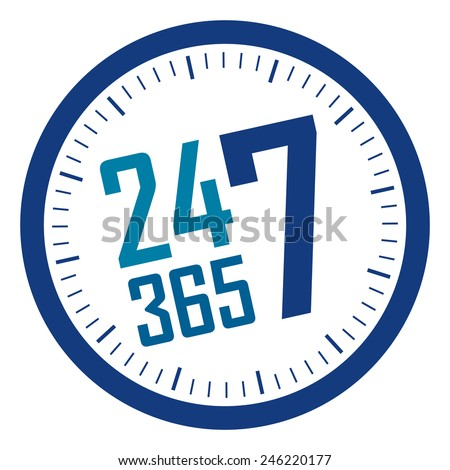 blue 24 7 365 service is available year-round sticker, badge, icon, stamp, label, banner, sign  isolated on white  - stock photo