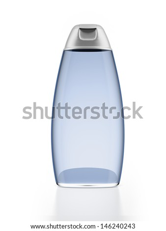 Blue shampoo bottle - stock photo
