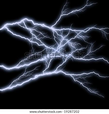 Blue shining lightning on black - stock photo