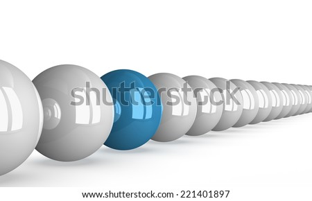 Blue shiny ball in row of white ones isolated on white, perspective view - stock photo