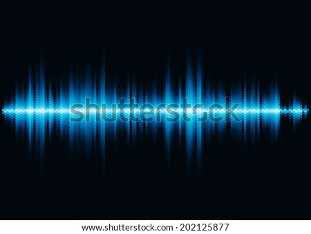 Blue shiny sound waveform with hex grid light filter - stock photo