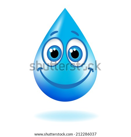 Blue shiny water drop with eyes and a smile. Raster version  - stock photo