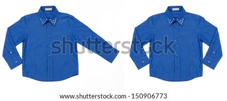 Blue shirt isolated on white background - stock photo