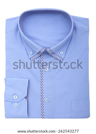 blue shirt isolated on white background - stock photo