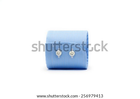 blue shirt sleeve cuff isolated on white background - stock photo