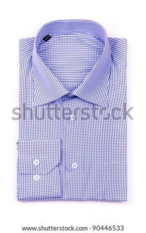 Blue shirt top view isolated - stock photo