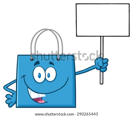 Blue Shopping Bag Cartoon Character Holding Up A Blank Sign. Raster Illustration Isolated On White - stock photo