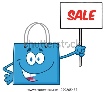 Blue Shopping Bag Cartoon Character Holding Up A Blank Sign With Text. Raster Illustration Isolated On White - stock photo