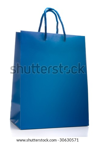 Blue shopping bag isolated on a white background	 - stock photo