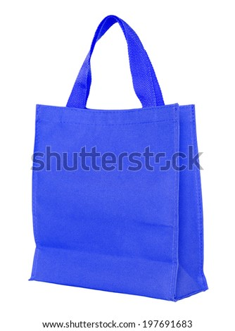 blue shopping bag isolated on white background with clipping path - stock photo