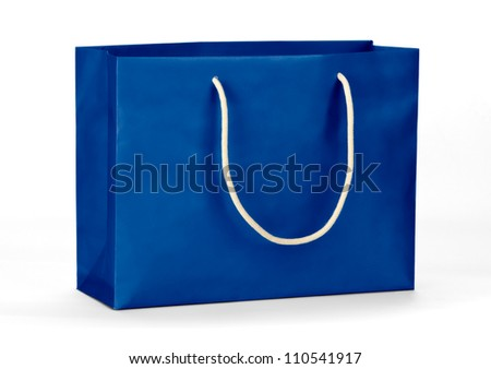 Blue shopping bag on white - stock photo