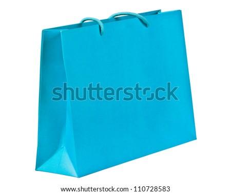 Blue shopping bag on white. - stock photo