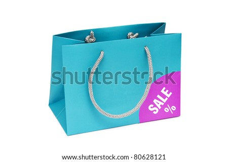 blue shopping bag with the inscription Sale isolated on a white background - stock photo