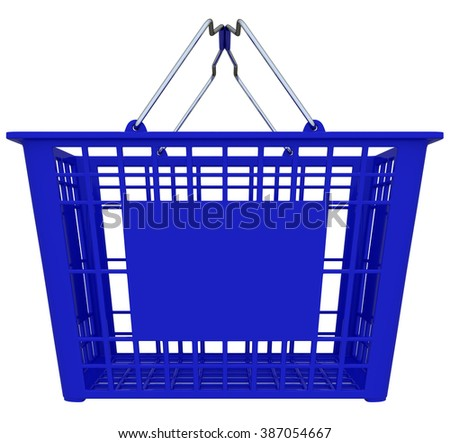 Blue Shopping Basket Isolated Over White Background - Copy Space - stock photo