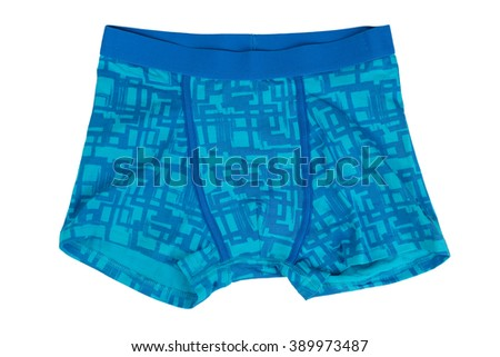 Blue shorts. Isolate on white. - stock photo