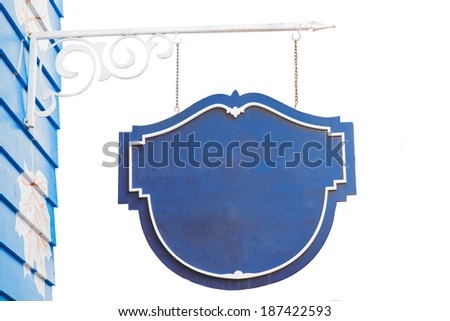 Blue signboard isolated on white - stock photo
