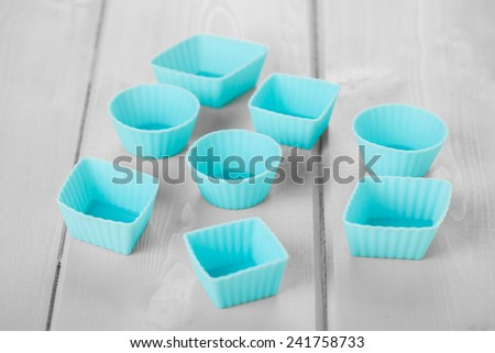 Blue Silicon Chocolate Moulds - stock photo