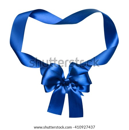 blue silk bow and ribbon decoration object on white as frame - stock photo