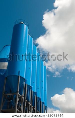 blue silo's - stock photo