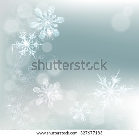 Blue silver abstract snowflakes snow flakes Christmas or New Year festive winter design background. - stock photo
