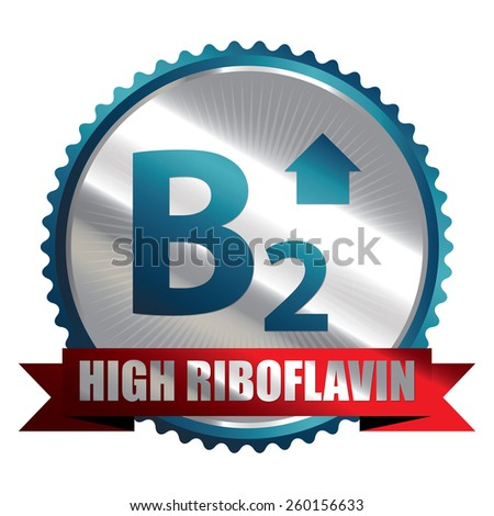 Blue Silver High Riboflavin B2 Vitamin Ribbon, Badge, Icon, Sticker, Banner, Tag, Sign or Label Isolated on White Background - stock photo