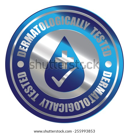 Blue Silver Metallic Circle Dermatologically Tested Icon, Label, Banner, Tag or Sticker Isolated on White Background  - stock photo