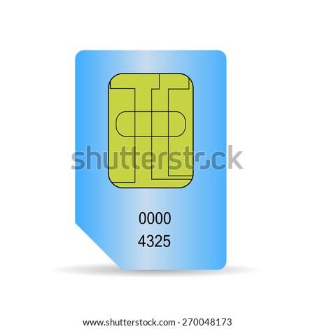 Blue SIM Card Isolated on White Background. - stock photo