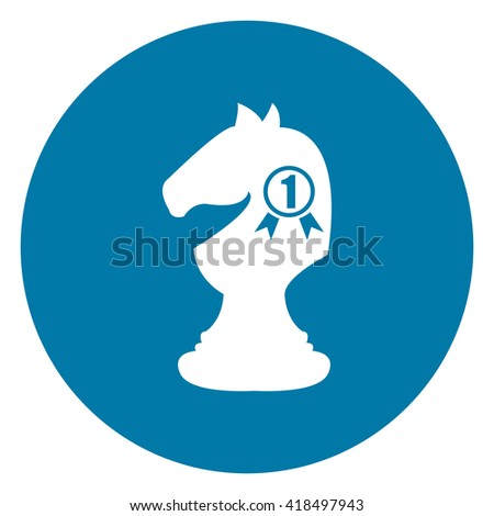 Blue Simple Circle Number 1 Knight, Horse, Chess Infographics Flat Icon, Sign Isolated on White Background - stock photo