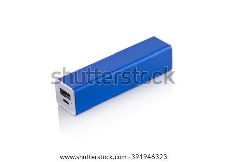 Blue Single Powerbank isolated on white background - stock photo