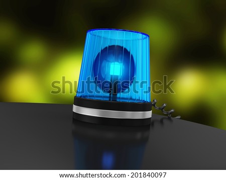 Blue Siren on top of police car with Bokeh Effect behind  - stock photo