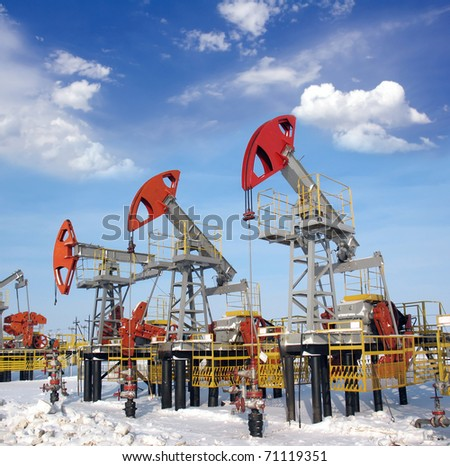 Blue sky above oil field - stock photo