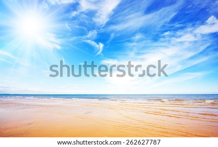 Blue sky and beach - stock photo
