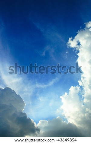 blue sky and beautiful white clouds - stock photo
