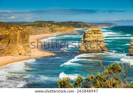 Blue sky and blue ocean in Summer at Victoria Coast, Australia. - stock photo