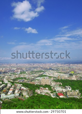 Blue sky and buildings - stock photo